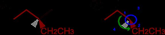 Si illustra la catena principale e la stereochimica del dimetilpentano