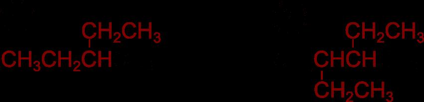 Catene principali di un 3-metilpentano e di un 3,4-dimetilesano marcate in rosso