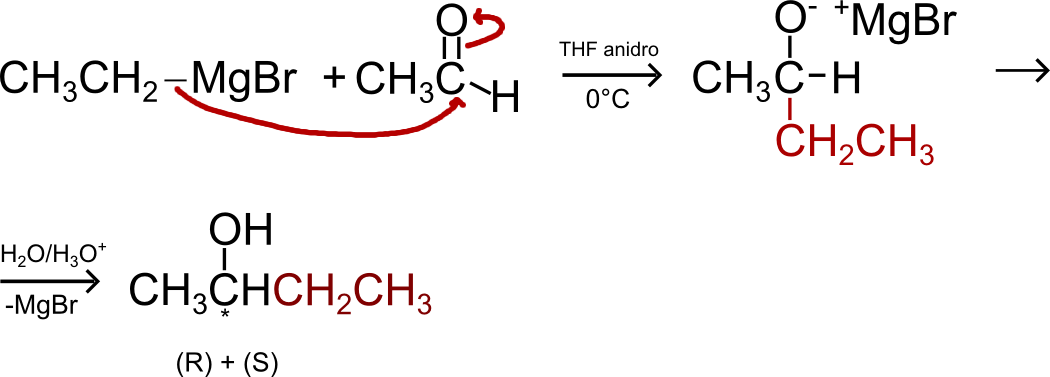 Reattivo di Grignard ed un aldeide (etanale) per sintetizzare un alcol