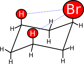 Interazioni 1,3 diassiali in cui il sostituente in assiale è disturbato dalla presenza degli altri atomi in assiale