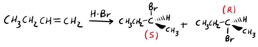Stereochimica dell'addizione di acidi alogenidrici, una reazione degli alcheni