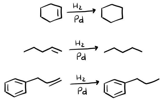 3 esercizi sull'idrogenazione catalitica