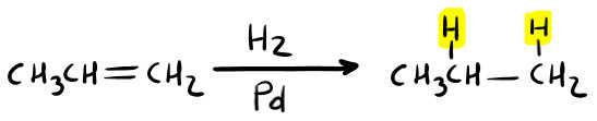 trasformazione da alchene ad alcano con l'idrogenazione catalitica